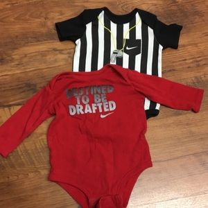 Nike- lot of 2 one piece snap suits 3-9 mo